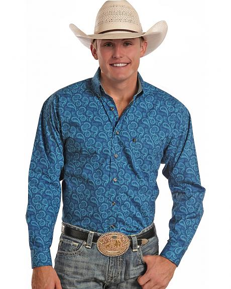 Tuf Cooper Performance Blue Paisley Western Shirt