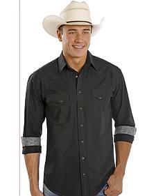 Rough Stock by Panhandle Slim Black Dobby Western Shirt