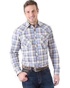Wrangler Men's 20X Advanced Comfort Brown and Blue Plaid Western Shirt