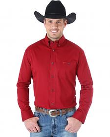 Wrangler Men's 20X Advanced Comfort Solid Burgundy Western Shirt