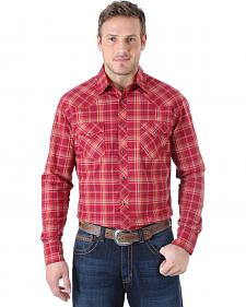 Wrangler Men's 20X Advanced Comfort  Burgundy and Blue Plaid Western Shirt