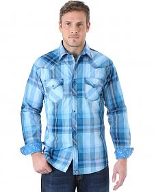 Wrangler Men's 20X Light Blue and Teal Plaid Western Shirt