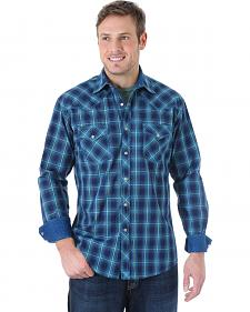 Wrangler Men's 20X Teal and Blue Plaid Western Shirt
