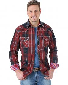 Wrangler Men's 20X Red and Grey Plaid Western Shirt