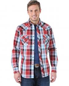 Wrangler Men's 20X Wine and Blue Plaid Fancy Stitch Western Shirt