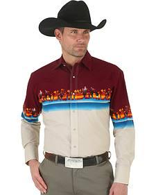 Wrangler Men's Checotah Reactive Border Western Shirt