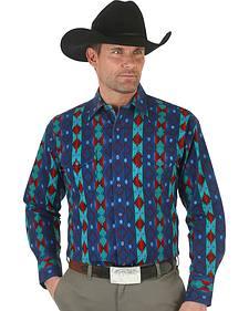 Wrangler Men's Checotah Reactive Stripe Western Shirt