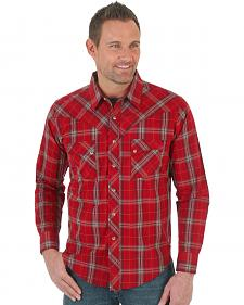 Wrangler Men's Red Plaid Western Jean Shirt