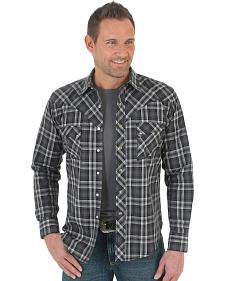 Wrangler Men's Black Plaid Western Jean Shirt