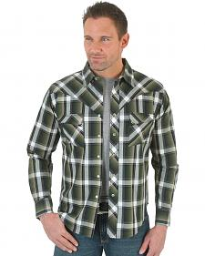 Wrangler Men's Green and Black Plaid Western Jean Shirt