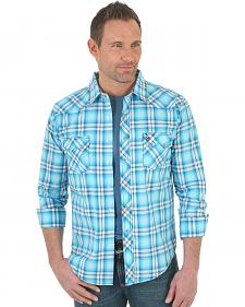 Wrangler Men's Light Blue Plaid Western Jean Shirt