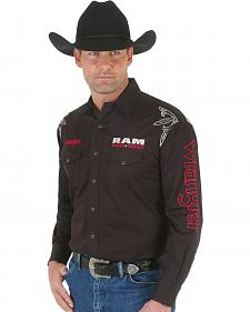 Wrangler Men's Black Ram Series Logo Western Shirt