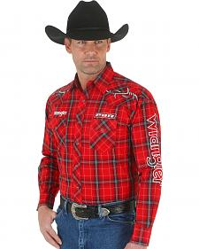 Wrangler Men's PBR Red Plaid Embroidered Logo Western Shirt