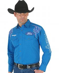 Wrangler Men's Ford Blue Embroidered Logo Western Shirt