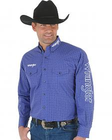 Wrangler Men's Purple Embroidered Logo Western Shirt