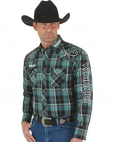 Wrangler Men's Green and Black Plaid Embroidered Logo Western Shirt