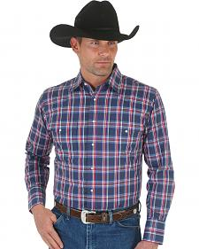 Wrangler Men's Wrinkle Resist Grey and Blue Plaid Western Shirt