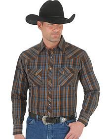 Wrangler Men's Brown & Blue Plaid Fashion Snap Shirt