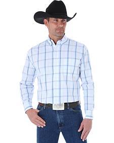Wrangler George Strait Windowpane Plaid Western Shirt