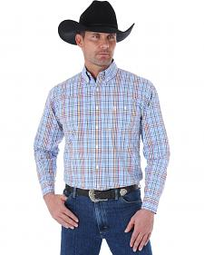 Wrangler George Strait Men's Blue and Navy Plaid Western Shirt
