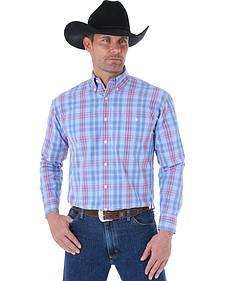 Wrangler George Strait Blue & Red Plaid Western Shirt