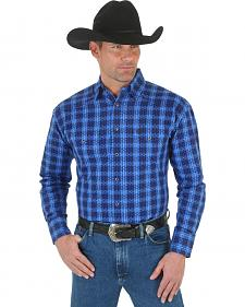 Wrangler George Strait Troubadour Blue and Black Plaid Western Shirt