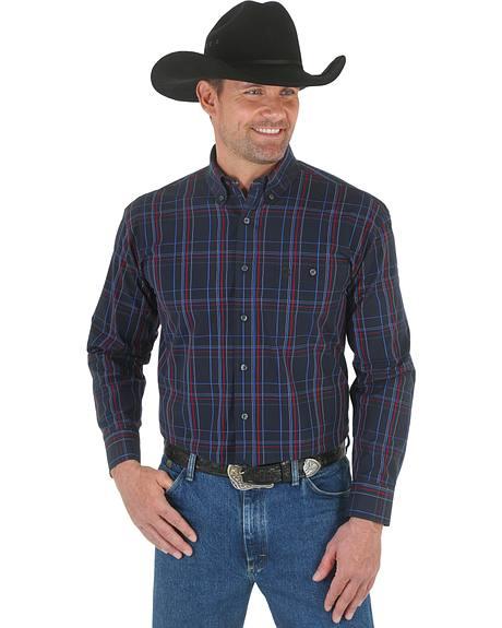 Wrangler George Strait Black & Red Plaid Western Shirt