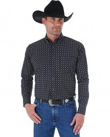 Wrangler George Strait Black and Grey Check Print Western Shirt
