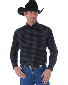 Wrangler George Strait Black, Red, and Blue Small Plaid Western Shirt