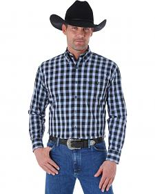 Wrangler George Strait Black & Blue Plaid Western Shirt