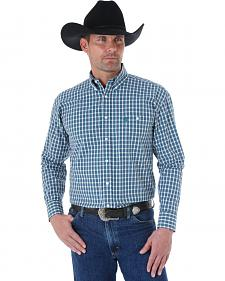Wrangler George Strait Men's Sage and Brown Plaid Western Shirt