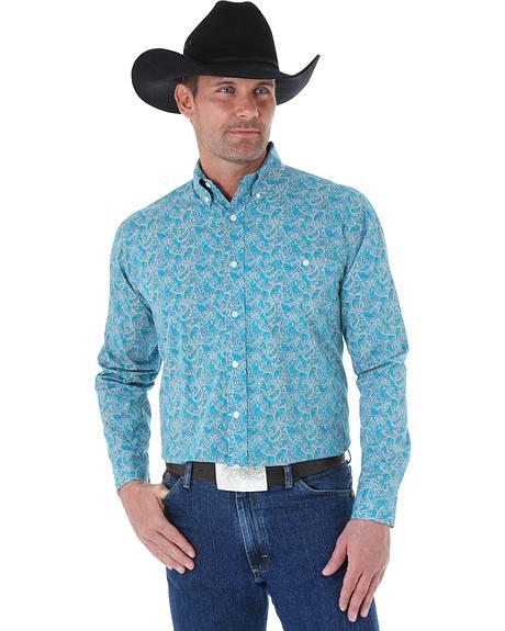 Wrangler George Strait Men's Turquoise Paisley Print Western Shirt