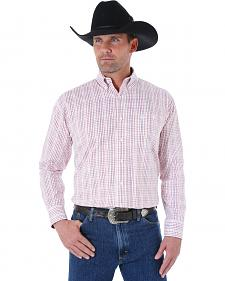Wrangler George Strait Men's White and Burgundy Plaid Western Shirt