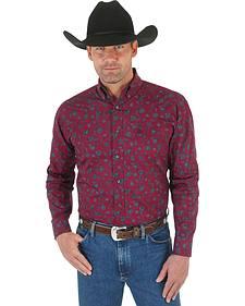 Wrangler George Strait Men's Burgundy Print Western Shirt