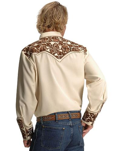 Scully Gunfighter Heavily Embroidered Retro Western Shirt $75.00 AT vintagedancer.com