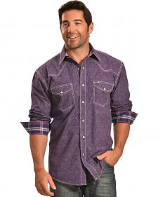 Crazy Cowboy Men's Purple Print Snap Shirt