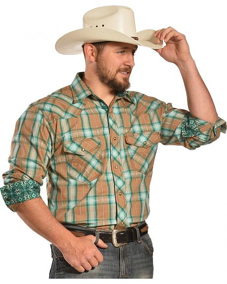 Crazy Cowboy Men's Tan and Teal Plaid Two Pocket Western Shirt