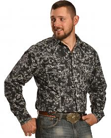 Crazy Cowboy Men's Black and White Paisley Western Shirt