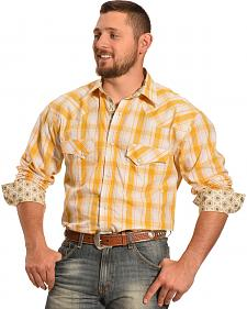 Crazy Cowboy Men's Yellow and White Plaid Two Pocket Western Shirt