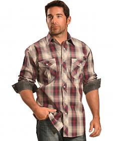 Crazy Cowboy Men's Wine and Cream Plaid Western Shirt