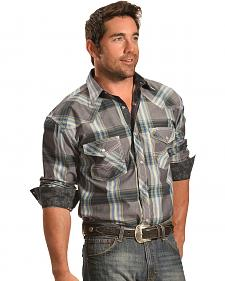 Crazy Cowboy Grey Plaid Long Sleeve Snap Western Shirt