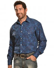 Crazy Cowboy Men's Navy Paisley Snap Shirt