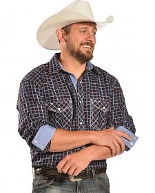 Crazy Cowboy Men's Black and Blue Two Pocket Western Shirt