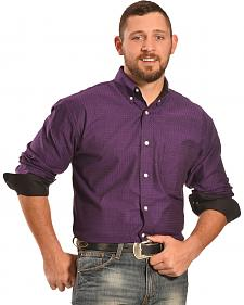 Crazy Cowboy Men's Purple Plaid Western Shirt