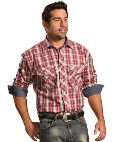 Crazy Cowboy Men's Red Plaid Snap Shirt