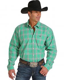 Cinch Men's Green Plaid Long Sleeve Western Shirt