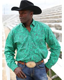 Cinch Men's Green Print Long Sleeve Western Shirt