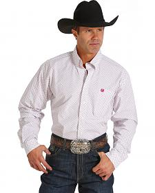 Cinch Men's White, Rose, and Olive Plaid Long Sleeve Western Shirt
