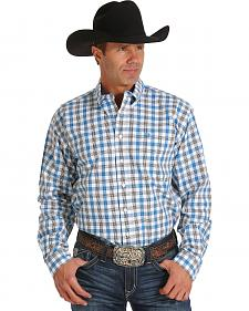 Cinch Men's Blue, White and Grey Plaid Long Sleeve Western Shirt