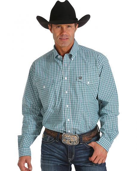 Cinch Men's Light Blue and White Plaid Double Pocket Western Shirt